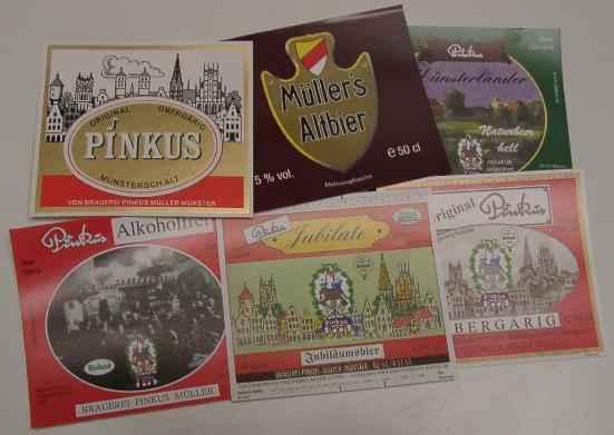 Bieretiketten NORDRHEIN-WESTFALEN MÜNSTER: 70 Bieretiketten der Brauerei Pinkus Müller